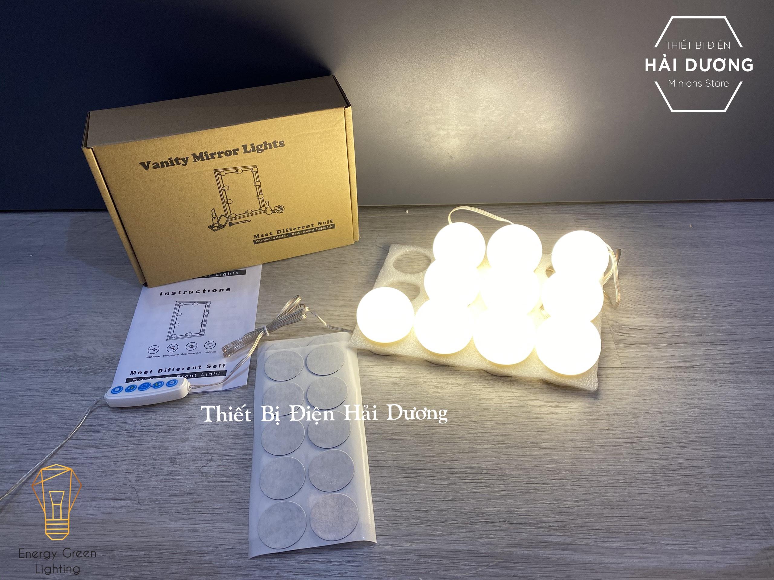 Set 10 bóng đèn LED chiếu sáng gương trang điểm BL-030 - Dán gương tiện lợi - 5 chế độ sáng - Tăng giảm ánh sáng - Tặng Kèm Củ Sạc
