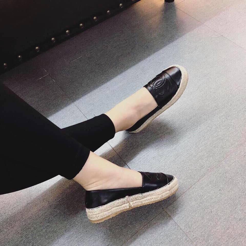 Giày slip on viền cói đế cao hàng đẹp