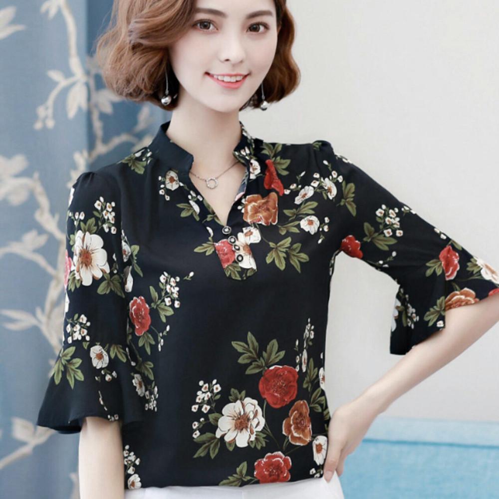 Áo Kiểu Hoa Cổ V Tay Loa-Màu Đen