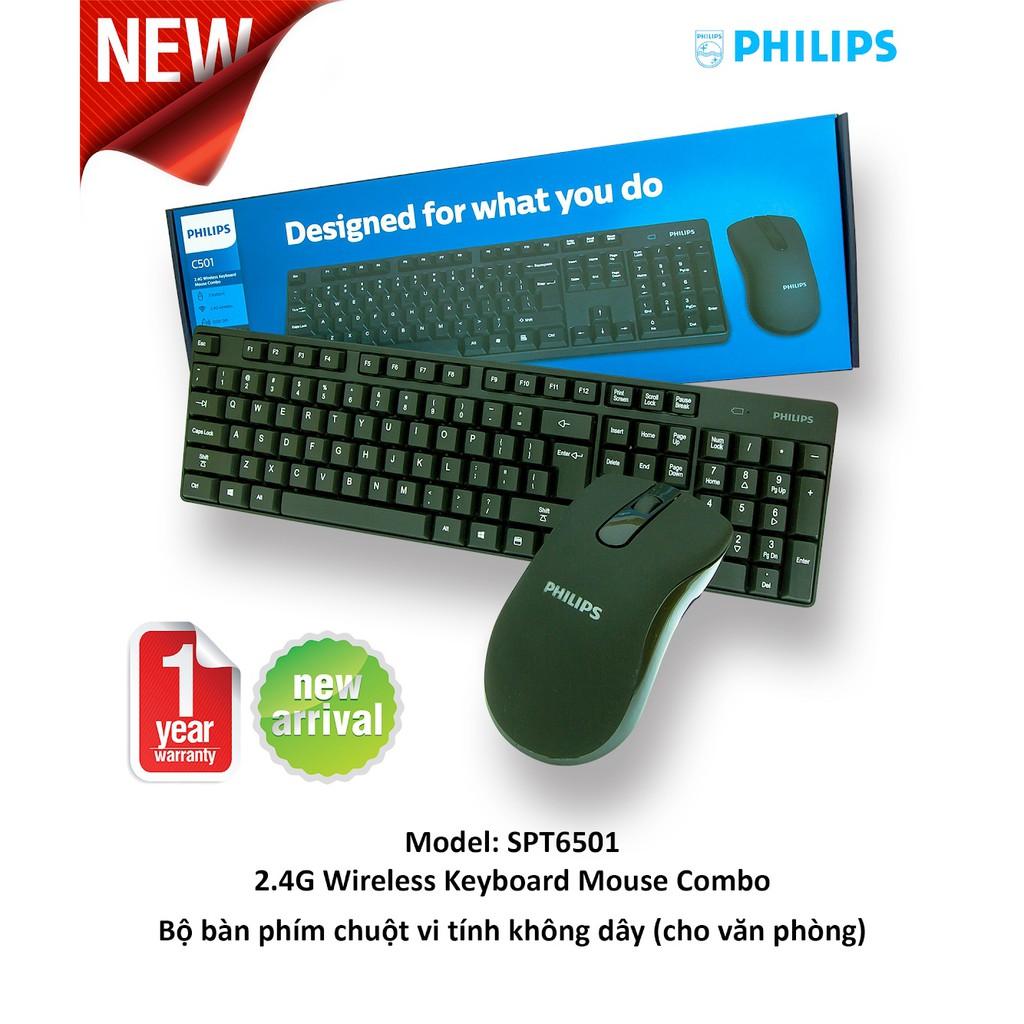 Bàn Phím Chuột Không Dây Philips SPK6501 - Hàng Chính Hãng