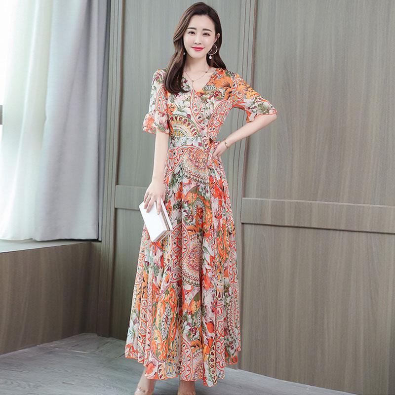 Women Mandarin Sleeve Floral Printed Short Sleeves A-Line Waisted Dress - Orange Size L