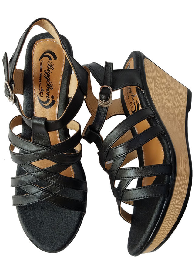 Giày Sandal Nữ Đế Xuồng BIGGBEN Da Bò Thật SDX21