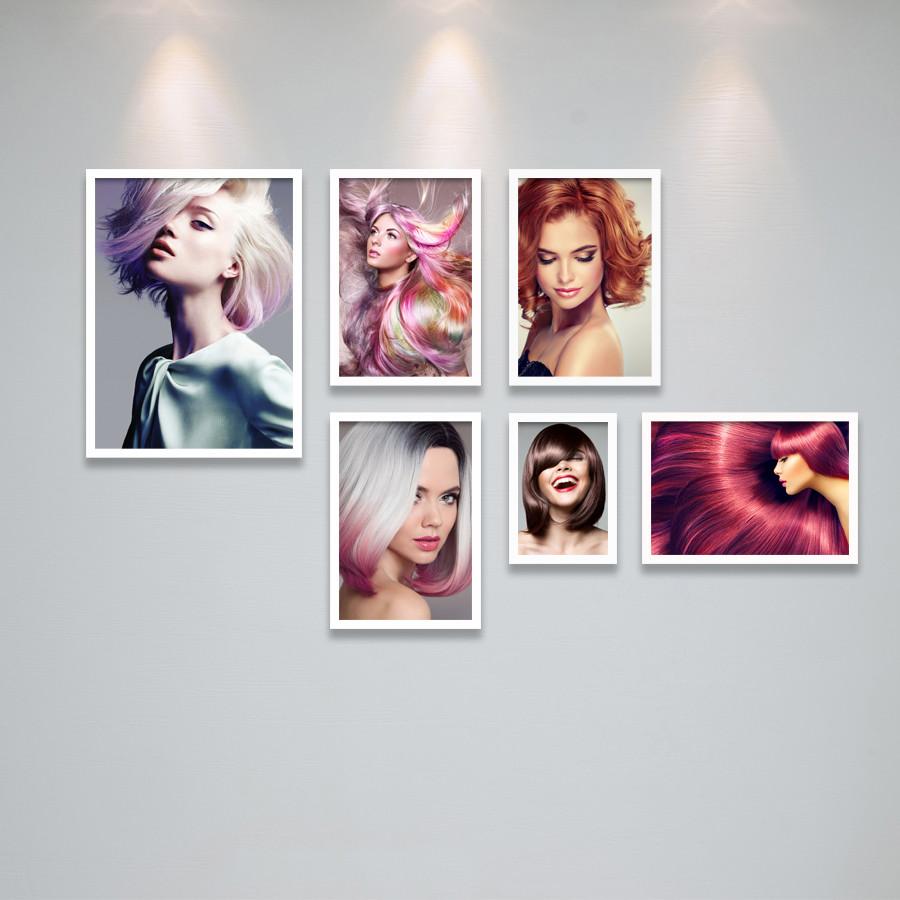 Bộ Khung Ảnh Treo Tường Trang Trí Salon Tóc Nữ, Khung Hình Treo Tiệm Làm Tóc Đẹp Tặng Kèm bộ ảnh như hình mẫu, đinh treo tranh và sơ đồ treo PGC296