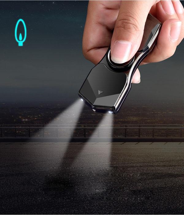 Hộp quẹt bật lửa hồng ngoại kiêm đèn pin kiểu dáng Spinner với 12 hiệu ứng đèn led