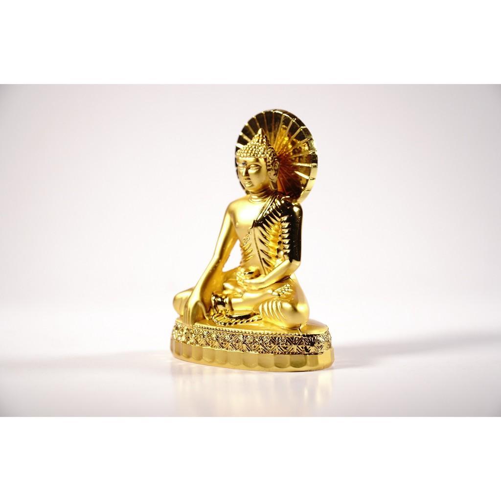 Tượng phật Bổn Sư đồng mạ vàng hào quang đặt xe ô tô - Cao 9cm