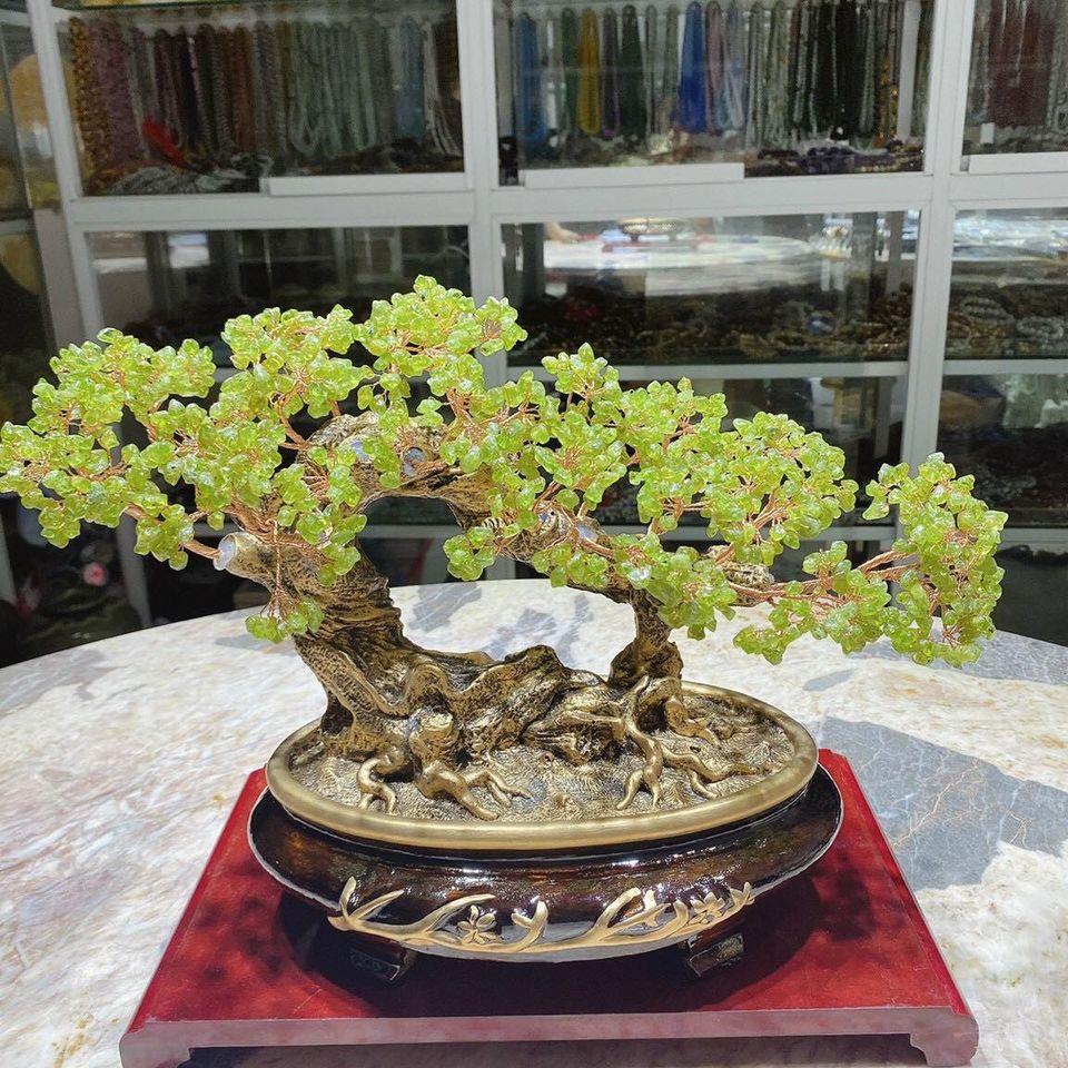 Cây tài lộc bonsai phong thủy đá peridot - Cao 30 cm