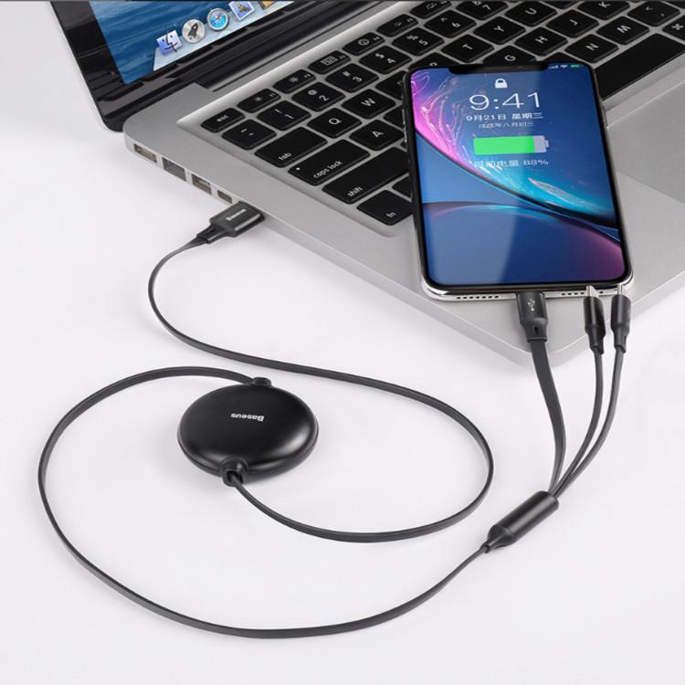 Dây cáp sạc 3 in 1nhãn hiệu Baseus CAMLT-ZY dây co rút, truyền tốc độ cao USB Type A to USB Type C/ Micro USB/ Lightning Fast Charging Cable - Hàng nhập khẩu