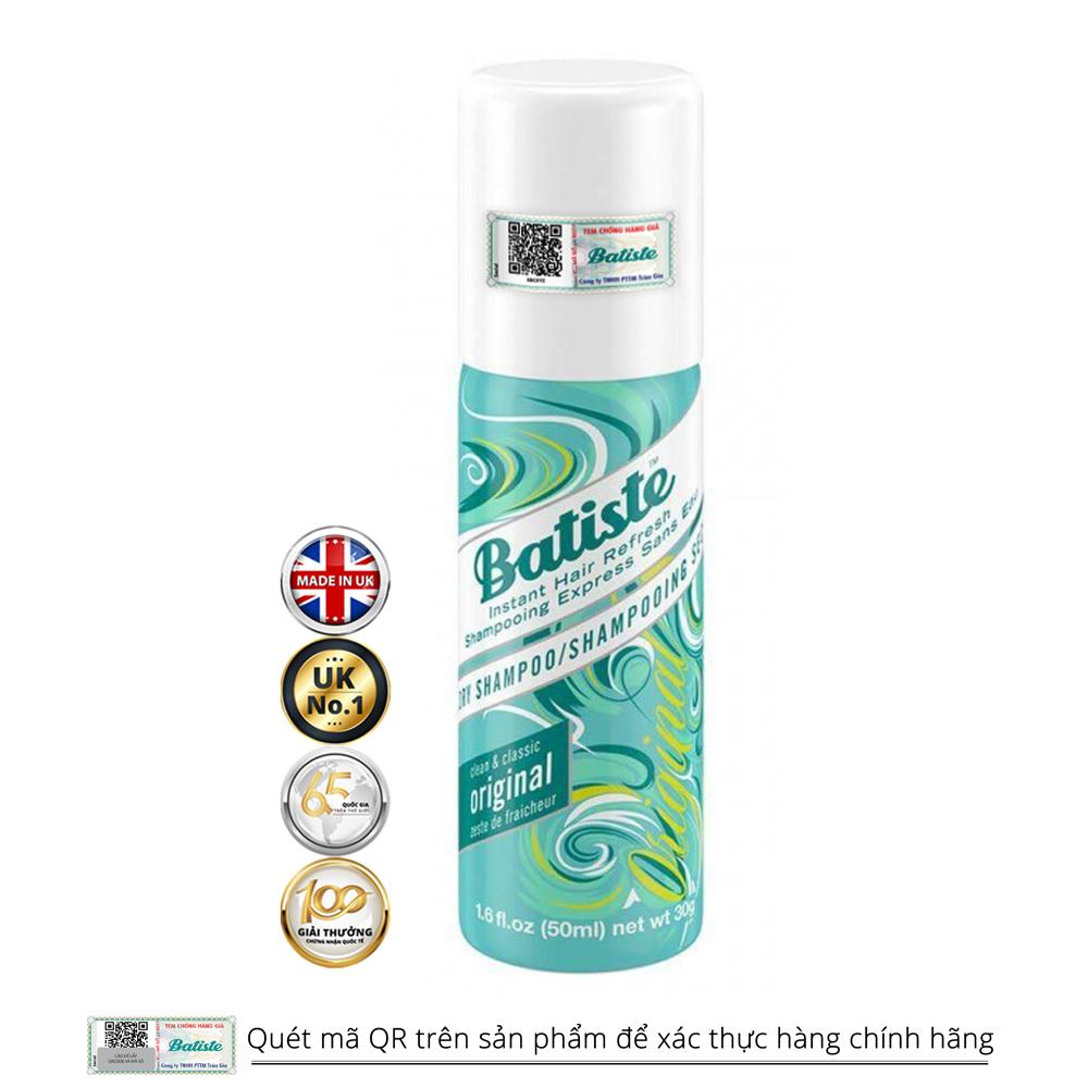 Dầu Gội Khô Batiste Dry Shampoo 50ml Hỗ Trợ Làm Giảm Dầu Thừa Trên Tóc (Size nhỏ tiện dụng)
