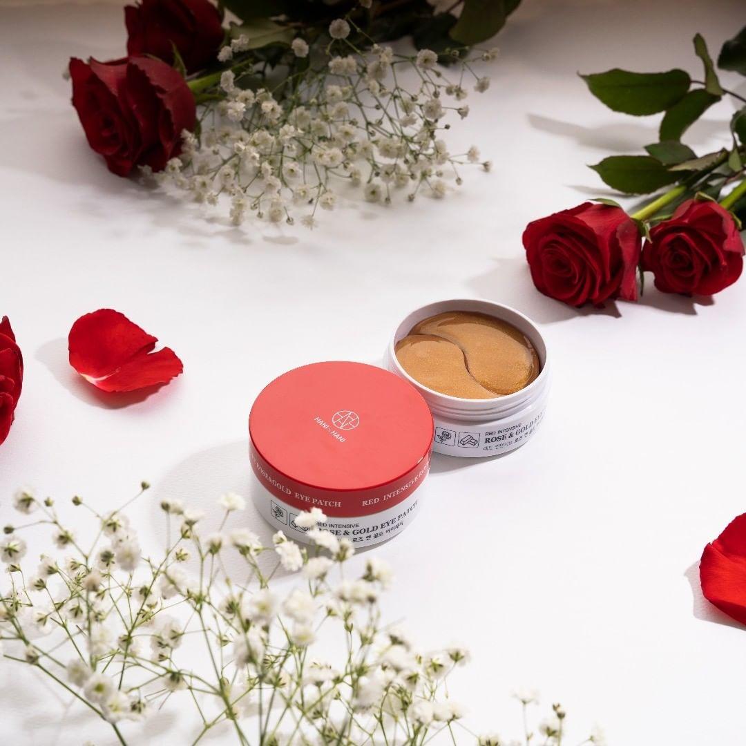 Mặt Nạ Xóa Thâm Và Nếp Nhăn Vùng Mắt  tinh chất hoa hồng và vàng Hani x Hani 50G/ Hani x Hani Red Intensive Rose & Gold Eye Patch