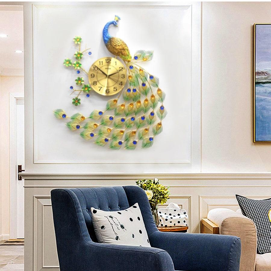 Đồng Hồ Treo Tường Trang Trí Đẹp Con Công S-A68 chim khổng tước độc lạ 3d cỡ lớn nghệ thuật phù hợp cho phòng khách, phòng ngủ
