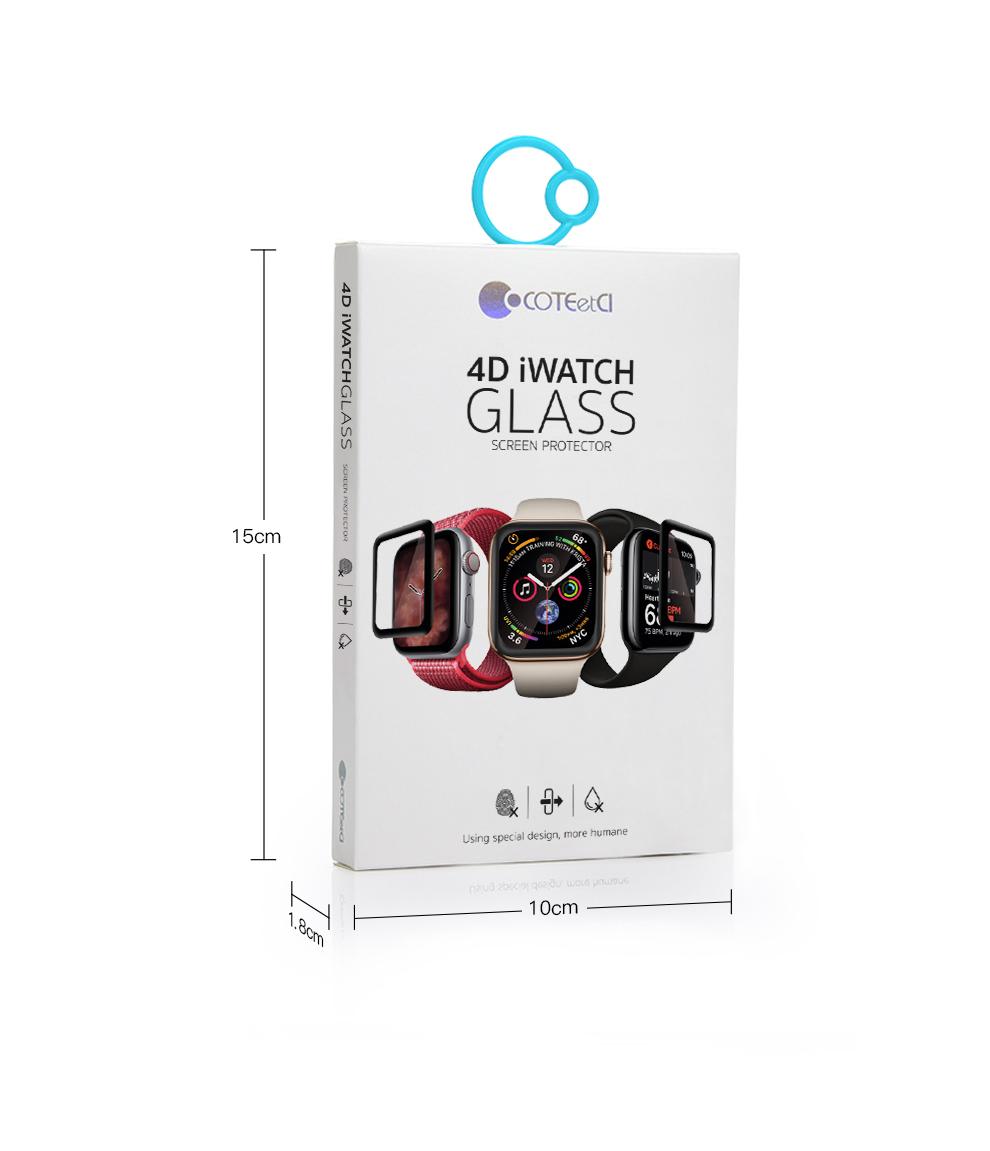 Miếng dán kính cường lực Full 4D cho Apple Watch 44mm hiệu Coteetci (Vát mỏng 2.5D, độ nét HD, phủ Nano) - Hàng chính hãng