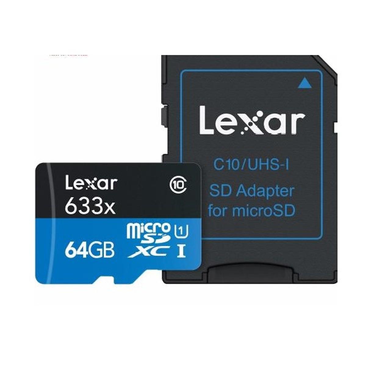 Thẻ Nhớ Lexar Micro SDXC 633X 64GB (95MB/s) (Có Adapter) - Hàng nhập khẩu