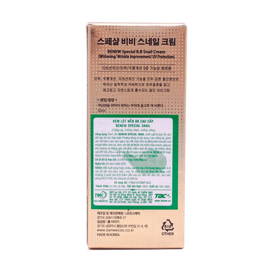Kem lót nền trang điểm BB  Benew tinh chất ốc sên Hàn Quốc 50ml