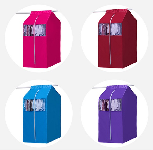 Tủ vải treo quần áo chống bụi có dây kéo 48x59x110 cm, giao màu ngẫu nhiên+ Tặng kèm 1 túi đựng đồ ngẫu nhiên