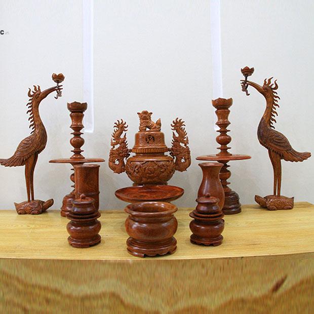 Bộ đồ thờ gỗ hương chạm,11 MÓN bộ đồ thờ gỗ, đồ thờ cúng bằng gỗ