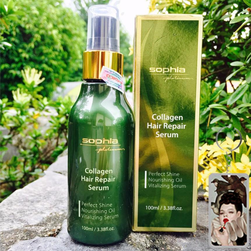 Xịt dưỡng tóc giúp tóc mềm mượt Sophia platinum Collagen Hair Repair Water Hàn Quốc 250ml tặng kèm móc khoá