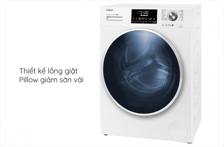Máy giặt AQUA AQD-D1000C W, 10.0kg, Inverter thiết kế Lồng giặt Pillow giảm sờn vải