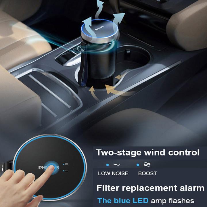 Máy khử mùi, lọc không khí dạng cốc trên xe ô tô cao cấp thương hiệu Philips GP5601 - Công suất: 5.5W - Điện áp: 5V DC/1A - UVC LED - Hàng Nhập Khẩu