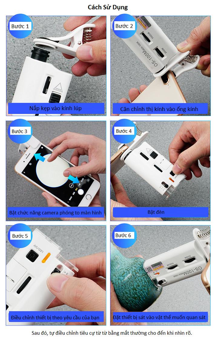 Kính lúp kẹp điện thoại có đèn led trợ sáng cao cấp (Thấu kính quang học độ phóng 60-100 lần, hình ảnh sắc nét, rõ ràng)- (Tặng 2 nút kẹp cao su giữ dây điện-màu ngẫu nhiên)