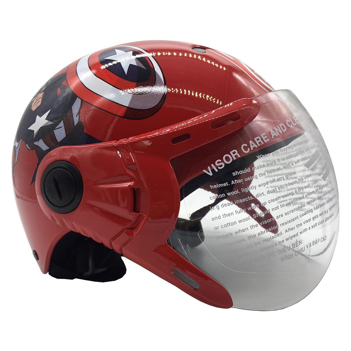 Mũ Bảo Hiểm Trẻ Em Nửa Đầu Có Kính Protec Kitty, Họa Tiết Đội Trưởng Mỹ, An Toàn, Chắc Chắc, Thời Trang - Hàng Chính Hãng