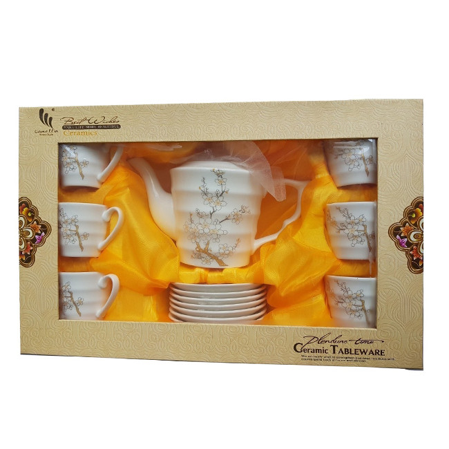 Bộ ấm chén pha trà , làm quà tặng cao cấp trang nhã Nếp Sóng ( Hàng Nhập Hàn Quốc )