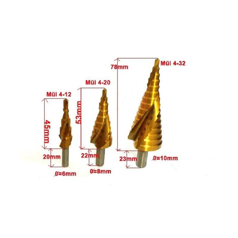 Bộ mũi khoan bước tháp HSS-4241/4 -32mm khoan sắt,thép,nhôm...chuôi tròn