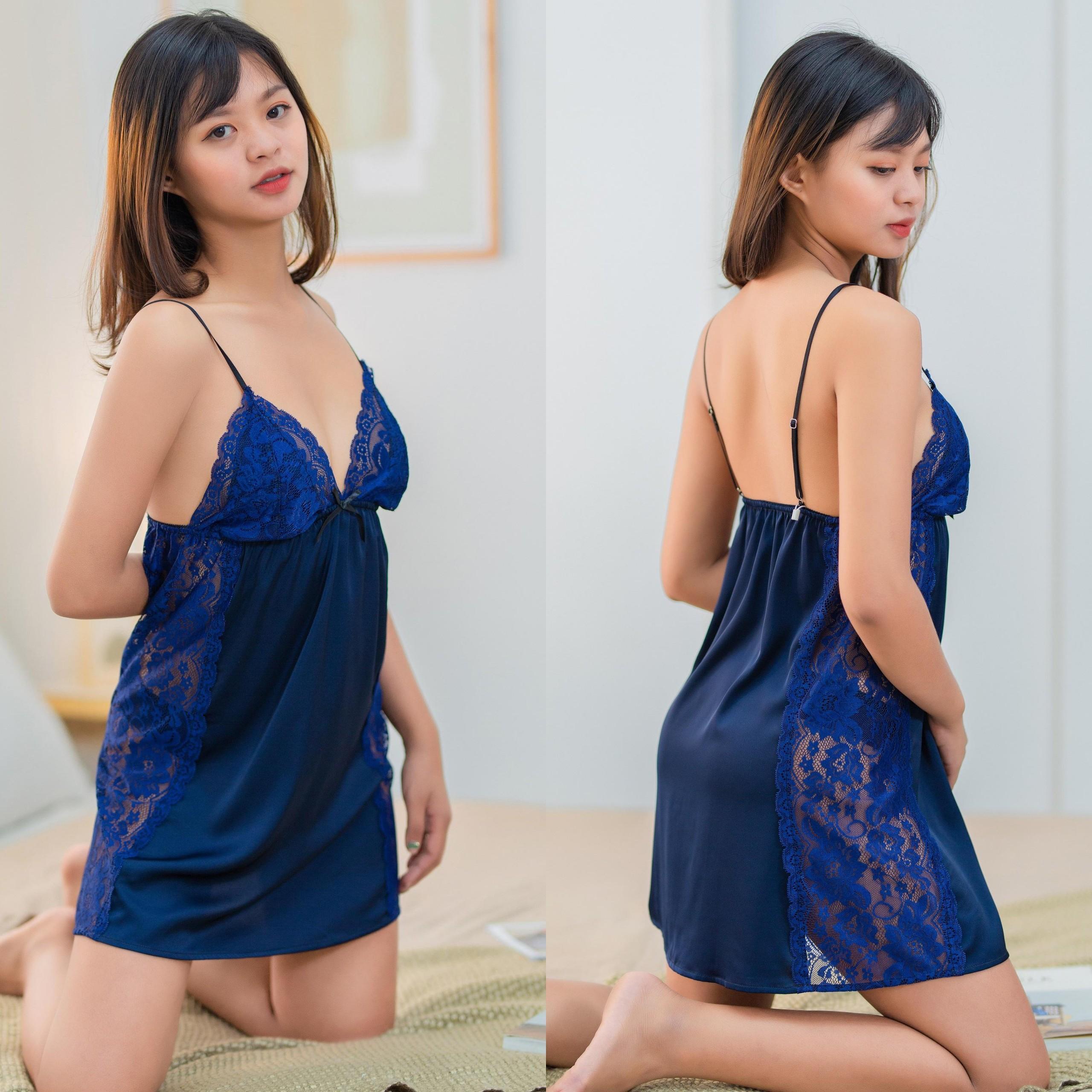 Đầm ngủ lụa cao cấp phối ren sexy ĐỦ MÀU Freesize kèm quần chip ren
