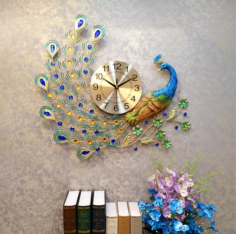 Đồng hồ treo tường trang trí chim công xanh DN11 (Cỡ lớn 70x65cm)