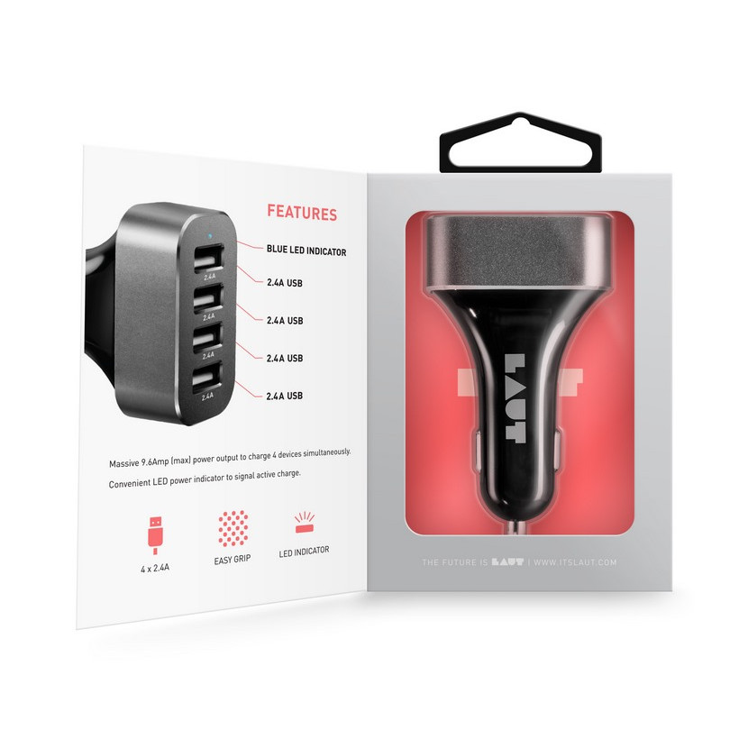 Củ sạc USB Car Charger LAUT Powerdash 9.6 - Hàng chính hãng