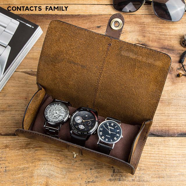 Bao Da Thật Contact's Family đựng Samsung Galaxy Watch / Apple Watch / Garmin / Huawei Watch / Đồng Hồ / Smartwatch (3 Cái) - Hàng Nhập Khẩu