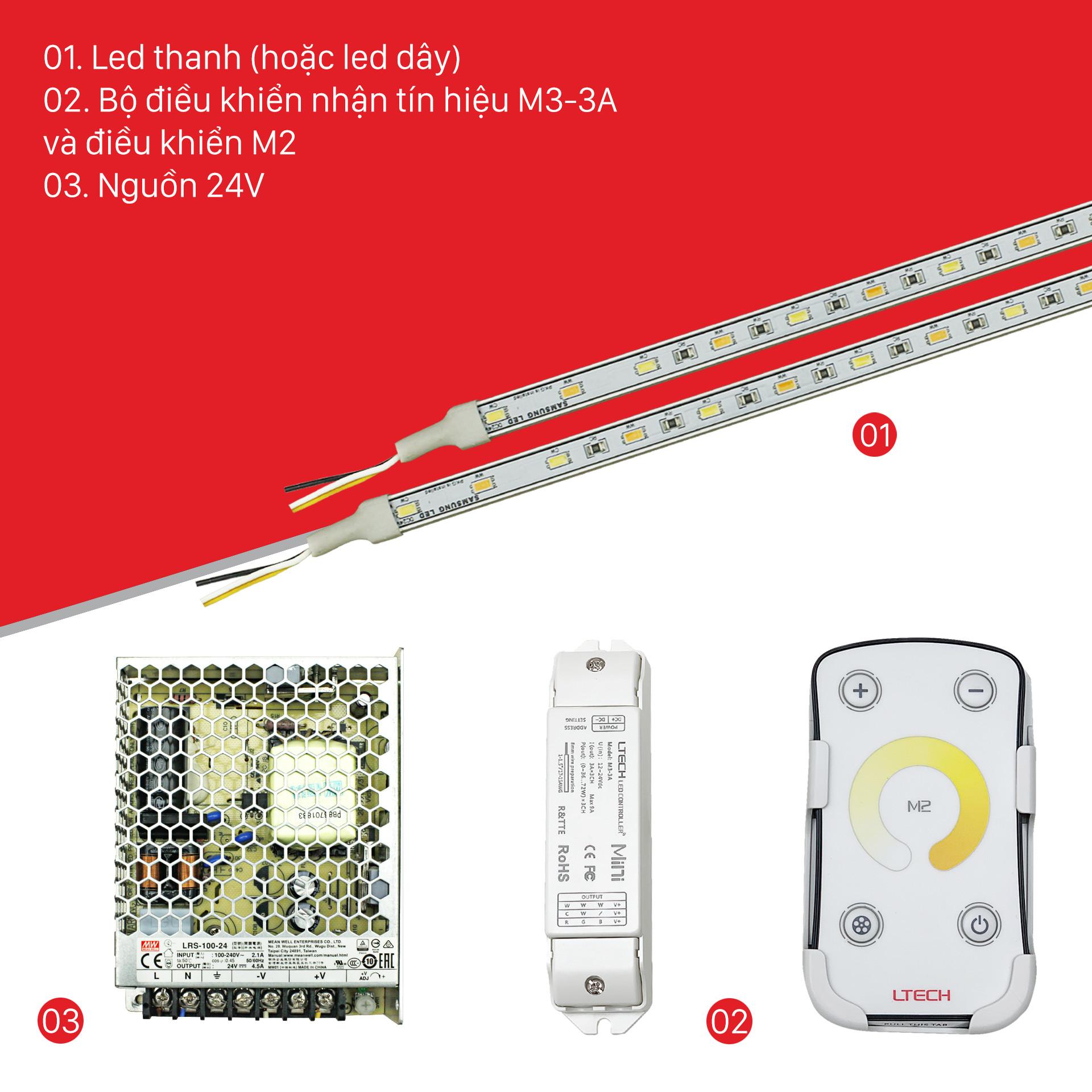 Bộ Điều Khiển Đèn Led Ltech M2+M3-3A Thay Đổi Độ Ấm Lạnh Ánh Sáng, LED Dimmer Controller - Hàng Nhập Khẩu