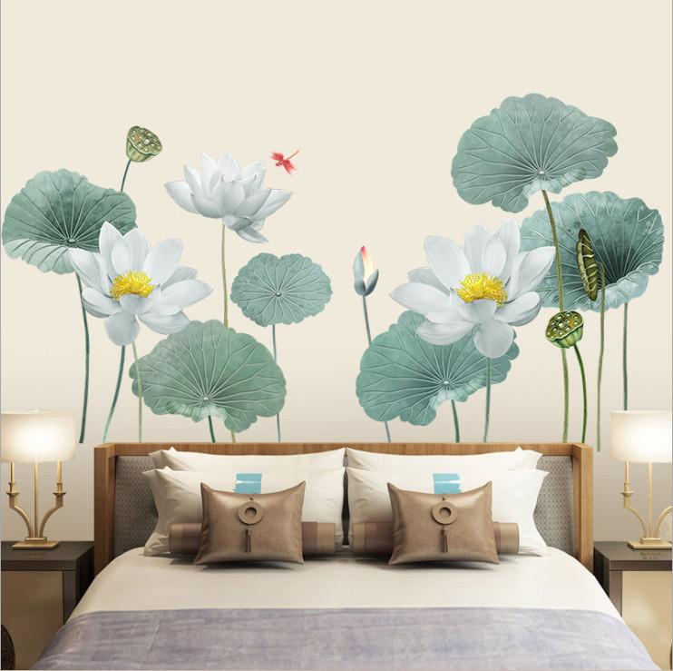 Decal dán tường Hoa sen xanh trang trí phòng khách sang trọng - mẫu số 9 (90 x 180 cm)