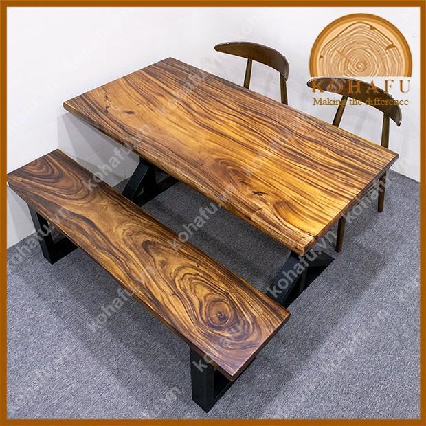 Mặt bàn ăn gia đình, mặt bàn dài bo cạnh gỗ me tây nguyên tấm dài 140 x rộng 72 x dày 4.5 (cm) - KL20225
