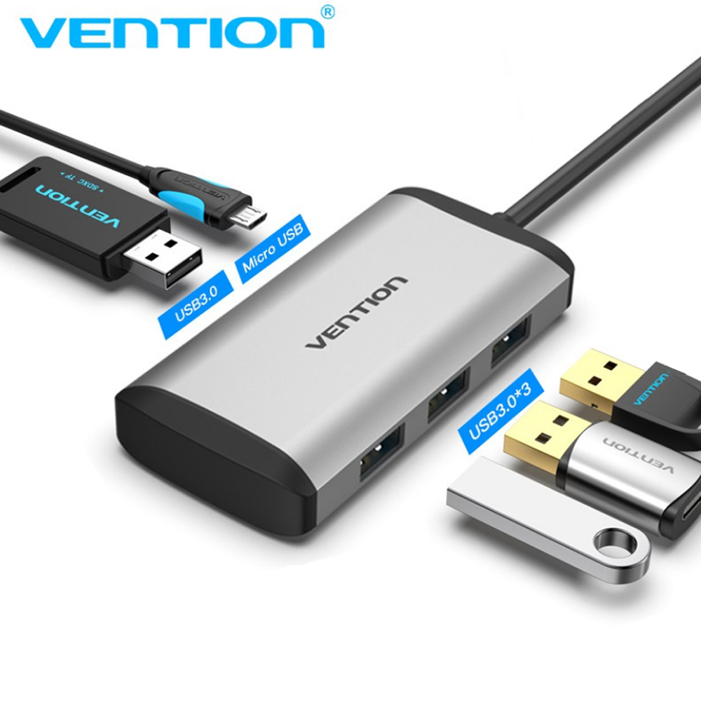 Cáp chuyển USB Type C to 4*USB 3.0 + PD Micro USB Vention TGCHB (5 in 1) - Hàng chính hãng