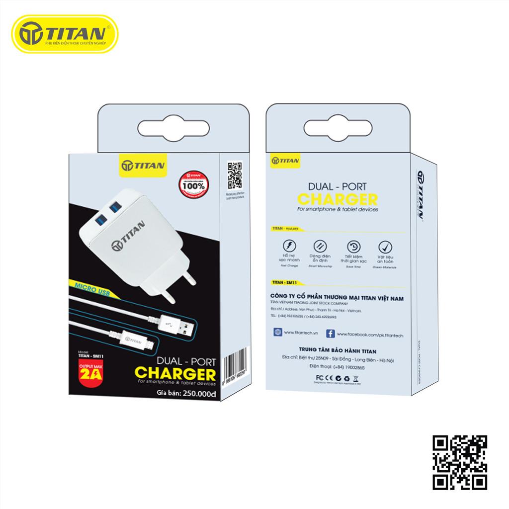 Bộ cốc sạc nhanh 2 cổng USB và cáp sạc Micro USB TITAN SM11 - Hàng Chính Hãng