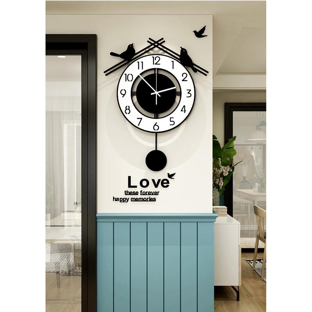 Đồng hồ treo tường quả lắc - đôi chim hạnh phúc