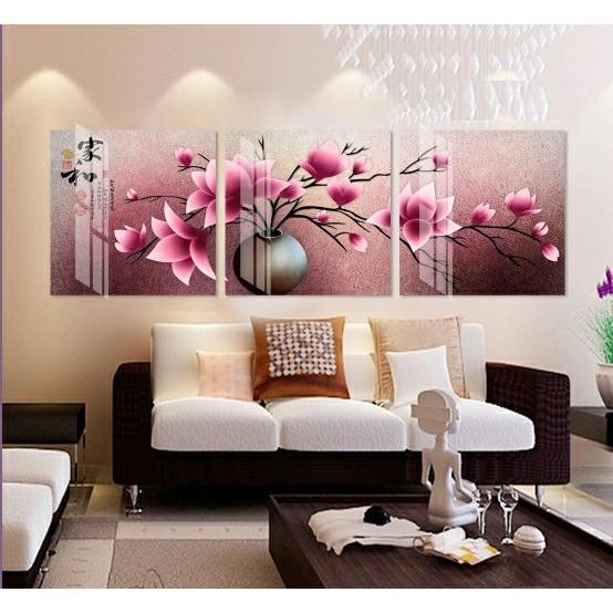 Bộ tranh 3 Bức - Tranh treo tường  phòng khách- Tranh Hoa 3D Hiện Đại H 29575 /Gỗ MDF cao cấp phủ kim sa/ Chống ẩm mốc, mối mọt/Bo viền góc tròn