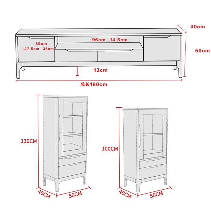 Combo kệ tivi 1.8m, tủ thấp, tủ cao thấp 2 bên- gỗ tự nhiên