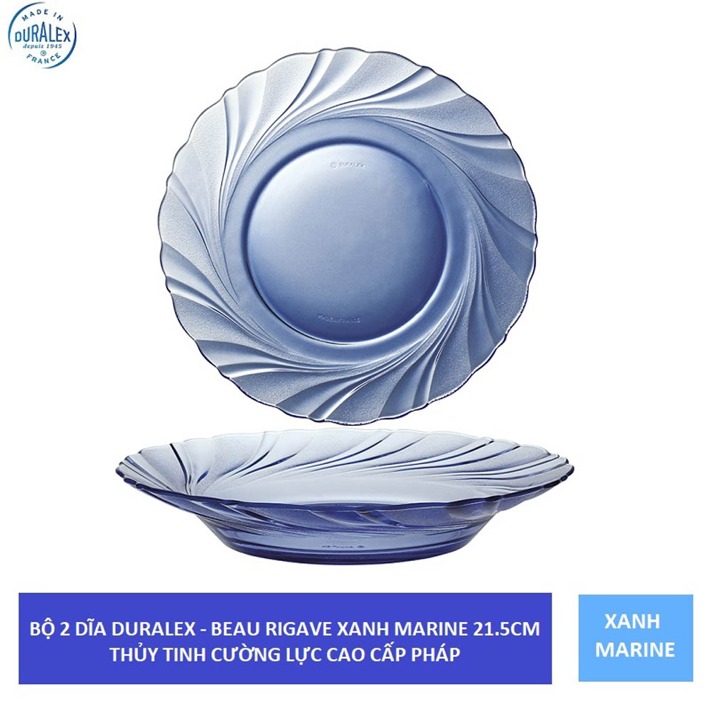 Bộ 2 dĩa sâu lòng thủy tinh cường lực Pháp Duralex Beau Rivage 21,5 cm ( Xanh Marine/ Nâu khói Creole)