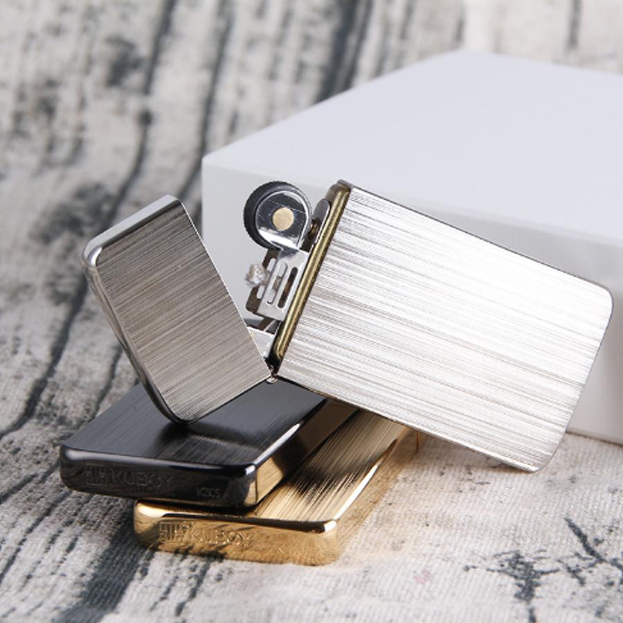 Combo Hộp Quẹt Bật Lửa Xăng Đá KZC5 Siêu Mỏng, Tặng Trọn Bộ Bấc Đá Chuyên Dụng Cho Bật Lửa Xăng Đá
