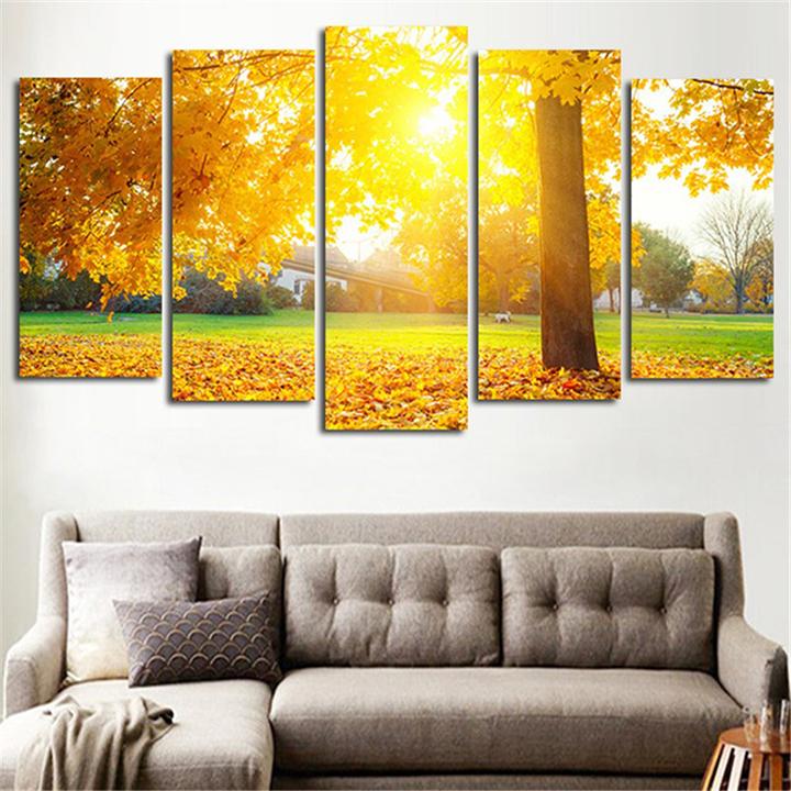 Tranh treo tường, tranh trang trí PP_ NT514 bộ 5 tấm ghép mùa thu