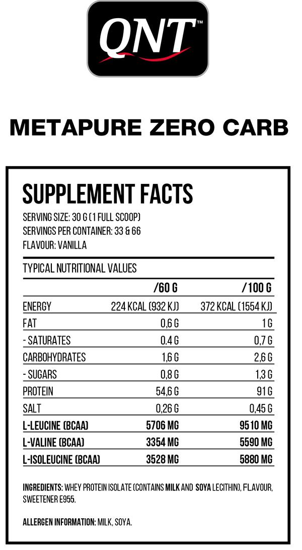 Thực phẩm tăng cơ Isolate Whey QNT Zerocarb metapure vị Chocolate 2.2Kg