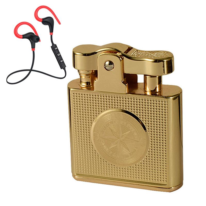 Combo Hộp Quẹt Bật Lửa Xăng Đá Khắc Hình La Bàn Và Kẻ Caro BCZ-707 Thể Hiện Đẳng Cấp Của Phái Mạnh + Tặng Tai Nghe Bluetooth Móc Tai Cao Cấp
