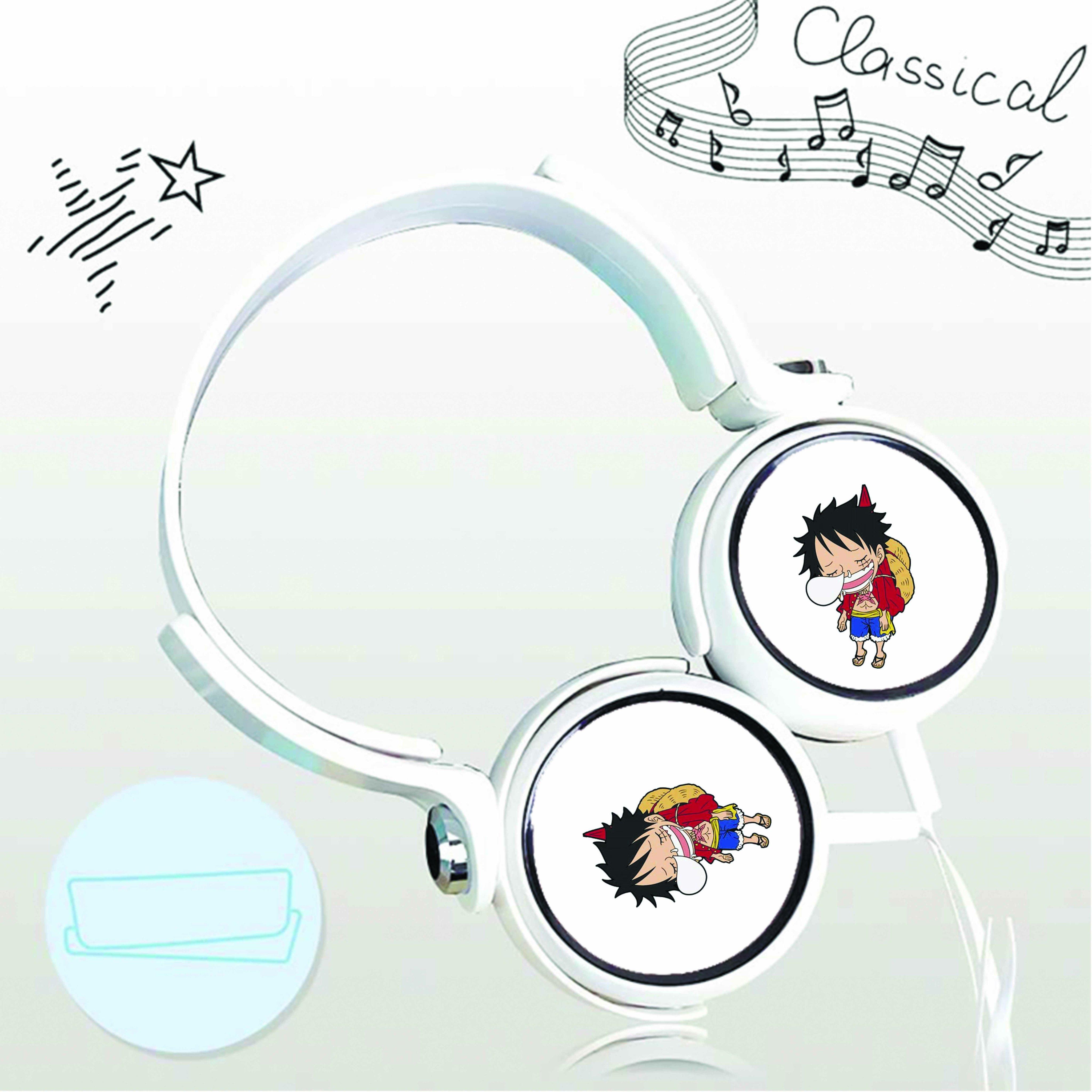 Tai nghe chụp in hình Luffy One Piece anime chibi cắm dây có mic