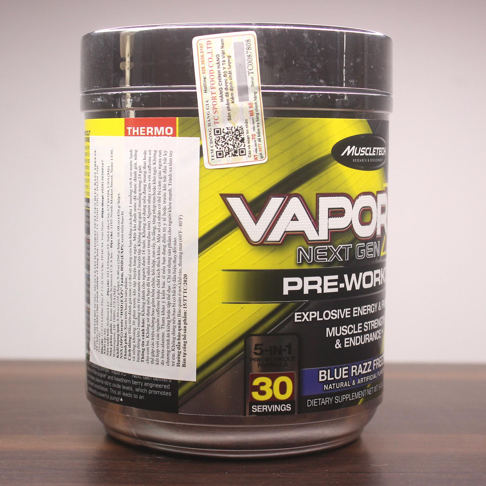 Combo Pre-Workout Vapor X5 của MuscleTech hương Blue Razz Freeze hộp 30 lần dùng hỗ trợ Tăng Sức Bền, Sức Mạnh, Đốt Mỡ, Giảm Cân mạnh mẽ cho người tập GYM & bình lắc 600 ml (Màu Ngẫu Nhiên)