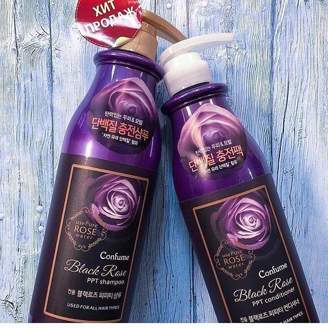 Dầu gội hoa hồng đen Confume Black Rose Shampoo Hàn Quốc 750ml Tặng móc khóa