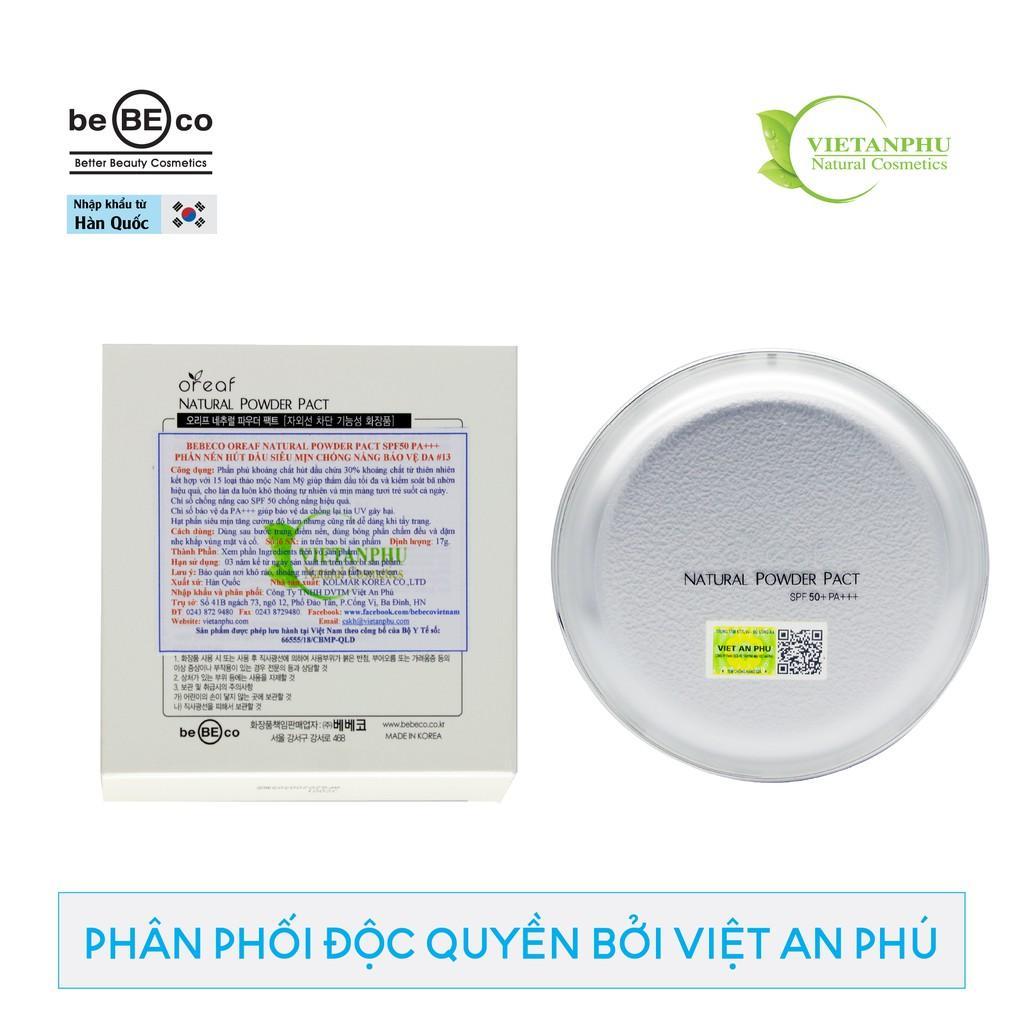 Phấn nén hút dầu siêu mịn chống nắng bảo vệ da BEBECO Oreaf SPF50 PA+++