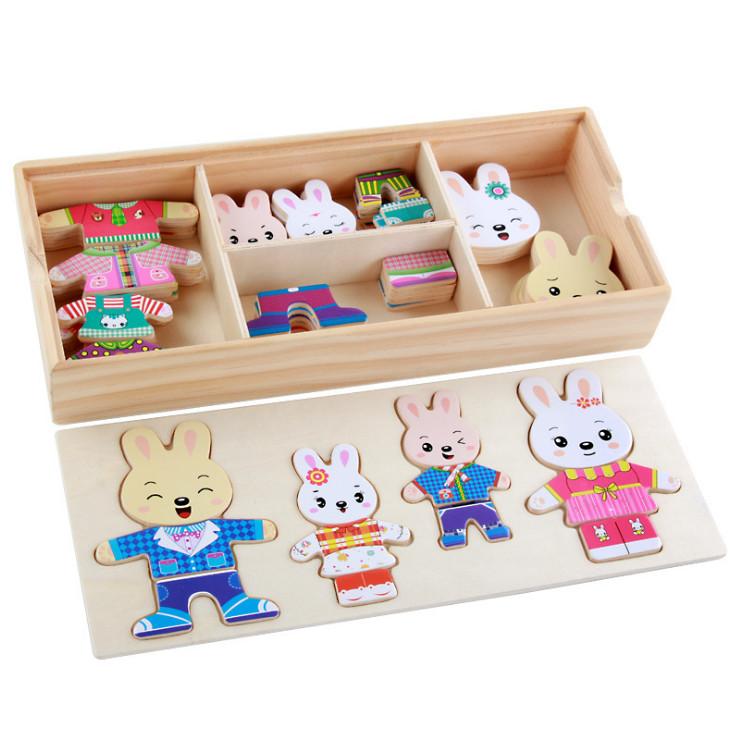 Bộ lắp ghép gia đình thỏ đồ chơi gỗ cho bé