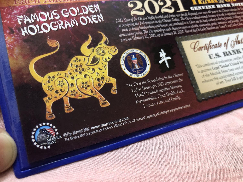Tờ 2 Đô Hình Trâu Vàng Số Đẹp , seri Thần Tài 79 đuôi May Mắn lì xì Tết - The Merrick Mint