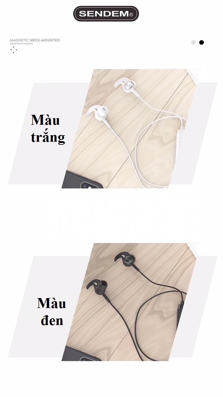 Tai Nghe thể thao kim loại Bluetooth SENDEM E33 - chống nước - cách âm tốt - Hàng chính hãng